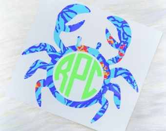 Crab Personalized Monogram Vinyl Decal - Lilly Pulitzer Inspired