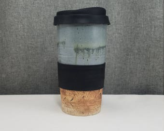 IN STOCK** Ceramic Travel mug / Commuter mug with silicone lid - Sage Blue/ Leafs