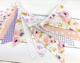 Watercolor Floral Bunting Banner Baby Girl Nursery Decor Baby Shower Fabric Bunting Nursery Bunting Indy Bloom Blush Pink Lavender Flowers