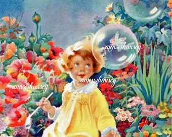 Little Girl 's Room Art Restored Antique Art Bubbles in the Garden #559
