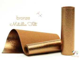 Metallic Felt - BRUSHED BRONZE Metallic Felt  - Metallic Wool Felt - Metallic Bronze Felt