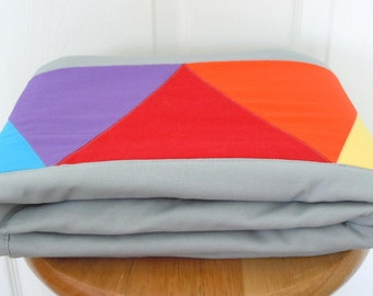 Rainbow Triangle Quilt: Ready to ship, Gender Neutral quilt, baby bedding, Crib Quilt, Baby Shower gift, patchwork quilt, gray, grey, stripe