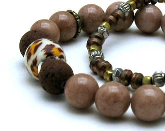 Cocoa Brown Jade  Animal Print Bohochic Beaded Stretch Bracelet   For  Her or Unisex  Under 100 One of a Kind Free Gift Wrap