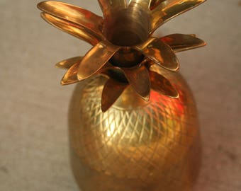 Pineapple Sculpture,Cottage Decor, Retro, Brass, Canister, Storage, Home Decor, Tropical Decor, Wedding, Christmas