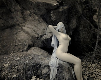 Nude in nature pagan naked art female model in forest near a cave rock cliff infrared fine art photo print - Priestess in Infrared - 10
