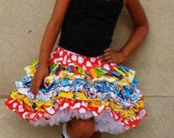 Made to Order Custom Boutique Seuss Cat in Hat Skirt Girl Sizes 2 3 4 5 6 7 8 9 or 10