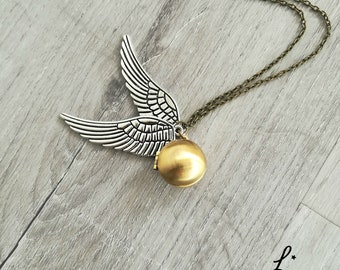 """Brass Globe locket, Golden brass Seeker Snitch brass locket necklace """"I open at the close"""" """"After all this time?"""" """"Always"""""""