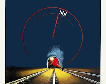 "1937 Danish Speed Rail Travel Poster Art Print 11"" x 17"" Reprint"