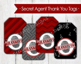 Secret Agent Thank You Tags - Instant Download