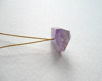 ON SALE. Facet - a Minimal Faceted Nugget Gemstone Necklace in Amethyst and Sterling Silver by Kirsty O'Donnell