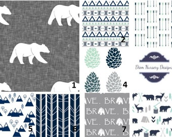 Boy Nursery or Toddler Bedding Set - Woodland Bear Navy, Mint, and Grey Camping Nursery - Mountain Nursery Bedding - Rustic Baby Bedding