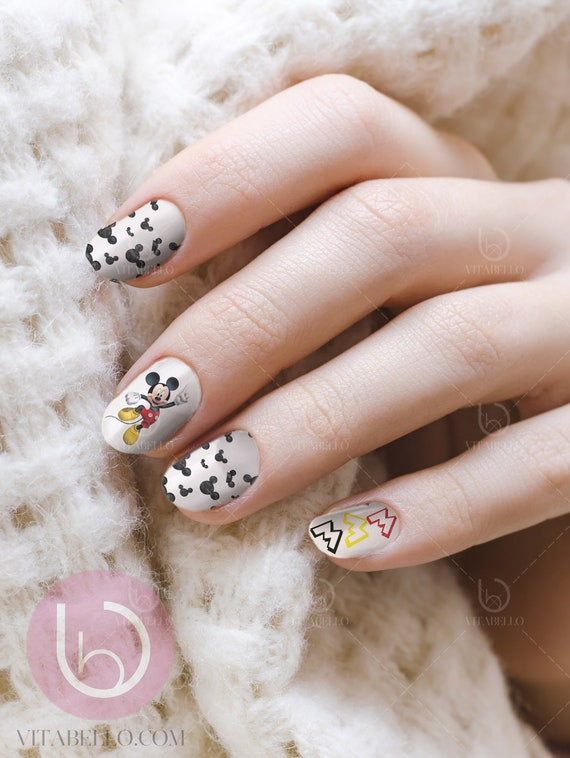 Mickey Nail Decal ,Waterslide decal, Nail Decal, Nail Art from ...