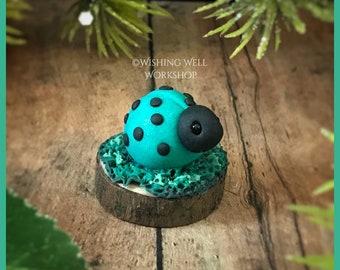 Polymer Clay Teal Ladybug B, Ladybug, Ladybug Miniature, Garden Decor, Fairy Garden