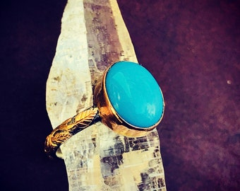 Arizona (Sleeping Beauty) Turquoise Ring. Gold 18k. Silver 950. 7 US Size (n.8)