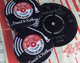 Wedding Vinyl Record Save The Date Magnets Vintage Vinyl Record Design Complete With Organza Bags - Version 2