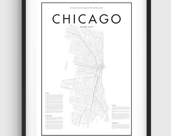 Minimal Chicago Map Poster, Black & White Minimal Print Poster, Art, Home Art, Minimal Graphics, Chicago Poster, Map Home Decor