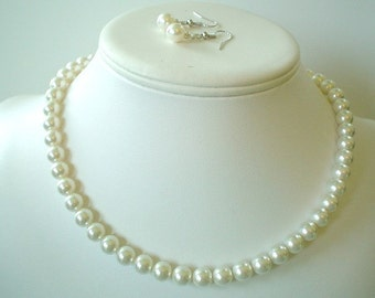 Single Strand Light Ivory Swarovski Pearl Beaded Necklace and Earring Set    Great Brides or Bridesmaid Gifts