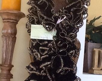 Metallic edged ruffle scarves