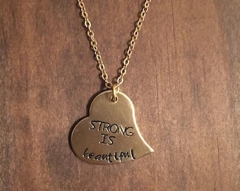 Strong Is Beautiful Gold Heart Necklace, Hand Stamped Strong Is Beautiful, Motivation Jewelry, Inspirational Jewelry, Womens Heart Jewelry