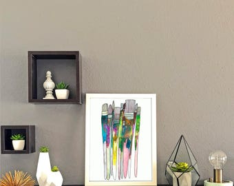 Paintbrushes Watercolor Print