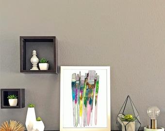 Paintbrushes Watercolor Print
