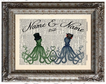 Octopuses In Love with Names & Date on Vintage Upcycled Dictionary Art Print Book Art Print Anniversary Wedding Cephalopods Customized