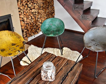 Tractor Stool Cast Iron Seat Bar Old Rustic Industrial Vintage Style Chair Pew silver polished green yellow grey multicolor