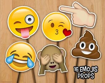 Emoji Birthday Photo Booth Props -  INSTANT DOWNLOAD - 16 Emoji 6in Photo Booth Props - Emoji Party Printable Supplies