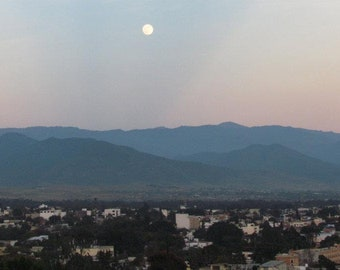 Full Moon Over Oaxaca, Mexico Moutains: Instant Digital Download .JPEG