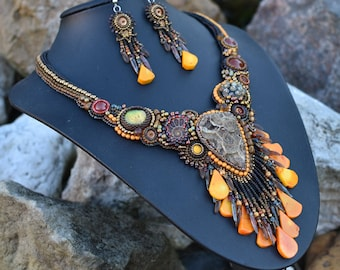 Heart of stone  - bead embroidery set of jewelry