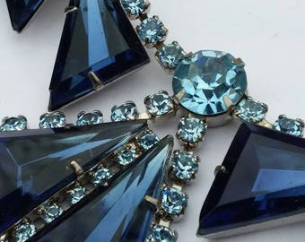 Necklace and bracelet set blue aquamarine pinup old hollywood estate costume jewelry gift burlesque bib drag queen wedding bridal aqua 50s