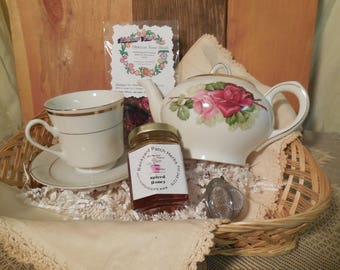 Rose Tea Pot and Cup Gift Basket, ceramic teapot, scones, shortbread, herbal tea, infuser, gift set, basket tray