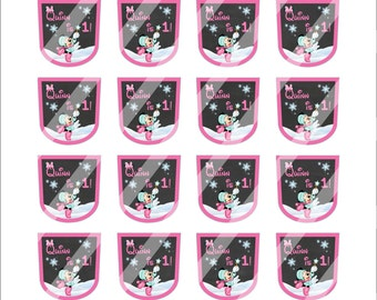 Winter Minnie Mouse Birthday Bath and Body Works PocketBac Hand Sanitizer Labels, Pink Minnie Snowflakes Party Favors, Winter Party Supplies