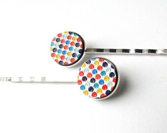 Confetti Dots Bobby Pins or Hair Clips, Multi Colored Tiny Polka Dots