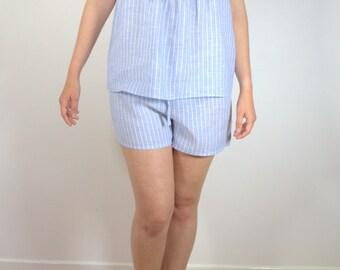 Linen Pajama Set, Women's Sleepwear, Blue Striped Linen