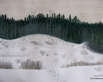 From the Top of the Hill - 5x7 or 8x10 Archival Giclée Print - Gouache, Watercolour Print - Forest. Woods. Hill. Path.