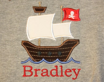 Appliqued Pirate Ship with name.
