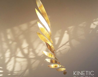 brass mobile, kinetic sculpture WING
