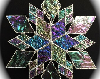 stained glass snowflake suncatcher  (design 15B)