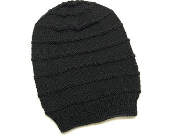 Black Slouchy Hat / Knitted