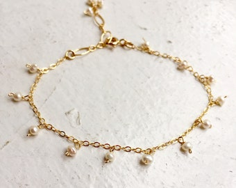 Tiny fresh water baroque pearl bracelet gold filled chain