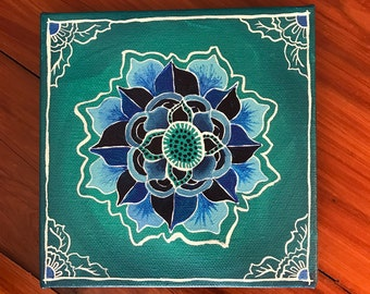 Blue lotus mandala original art canvas painting