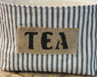Ticking Fabric Tea Basket with a Burlap Label - Large Size - Select Your Color