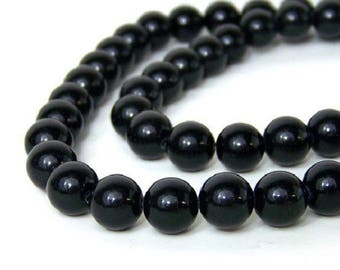 10 beads - shiny black - 8 mm