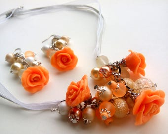 Orange Flower Jewelry, Rose Jewelry Set, Polymer Clay Jewelry Set, Polymer Clay Jewelry, Orange Rose Necklace, Orange Earrings, Orange Gift
