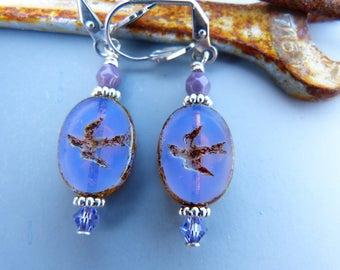Opalescent Lavender Bird Bead Earrings
