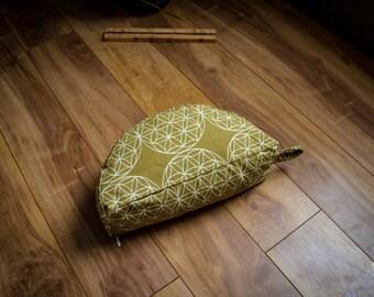 Crescent meditation cushion Flower of life kaki travel half moon zafu buckwheat pillow by Creations Mariposa