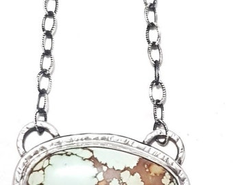 Handmade Statement Sterling Silver Hubei Turquoise Necklace Pendant