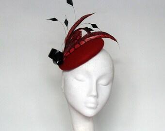 Red Felt Pillbox Fascinator-Winter Wedding Hat- Mother of Bride Hat-Race Day Hat-Ladies Day Hat-SS2018 -Lura