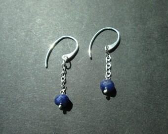 Sapphire argentium silver dangles- September birthstone- genuine blue sapphires
